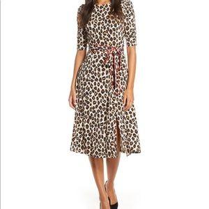 Eliza J Leopard Print Piped Sash Midi Dress